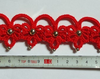 "Hand-Tatted Bracelet ""Dawn"" with Carabiner Clasp – Romantic, Bridal, Vintage, Retro, Wedding, Antique"