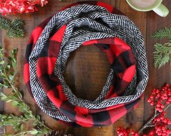 Buffalo Plaid and Wool Herringbone Lux Scarf