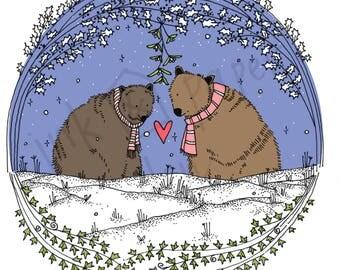 Woodland Card - Valentines Bear Card - Love Card - Christmas Card - Anniversary Card