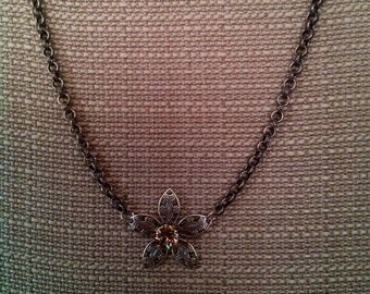 Antique Silver Filigree Flower 39ss Necklace