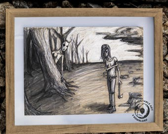 Allegory: PRINTABLE Artwork, Storybook Illustration, Rustic decor, Fantasy Drawing, Dark Artwork, Grunge Decor, Hand-drawn Original