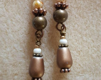Double Dangle Earrings Pearl Picasso Crystal