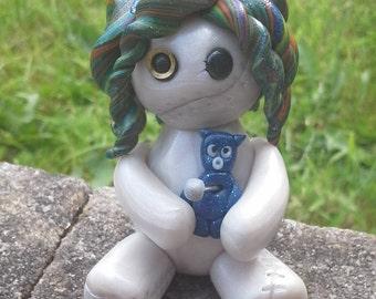 Shimmery, rainbow, multicoloured, voodoo, doll, polymer clay, model