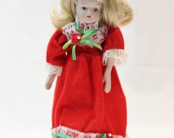 Vintage Porcelain Doll, Soft Body, Red Dress