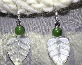 Glass Leaf Drop Earrings With Jade Accents