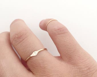 Personalized Initial Ring. Gold Stacking Ring. Dainty Ring. Gold Filled Ring. Delicate Ring. Thin Gold Ring. Christmas Gift For Wife.