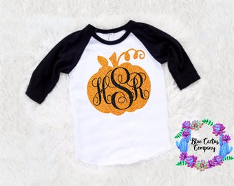 SALE Custom monogram glitter pumpkin shirt-halloween shirt- fall shirt - picture shirt -baby girl -toddler girl