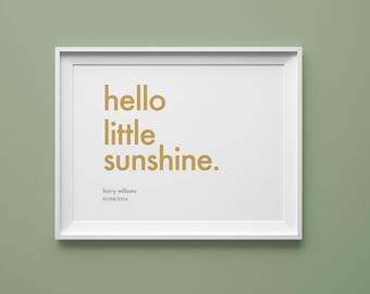 Personalised baby print // hello little sunshine. // custom colours // custom names // new baby gift