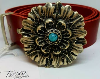 Flower leather belt Leather 4cm red