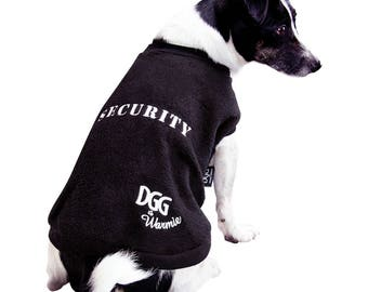 "Dog Polar Fleece Jumper Black ""Security"" Design"