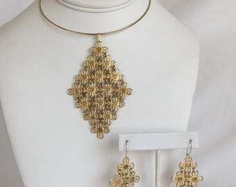 Sarah Coventry Golden Petals Set, Flower Mesh, Gold Tone, Wire Collar Necklace, Pierced Earrings, 1970s, Modernized
