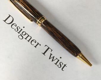 Black Palm Designer Twist Pen with 24k Gold Fittings (Item #1001)