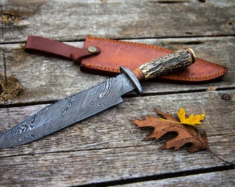"""13"""" Inch Hand Made Forged Damascus Steel Hunting Bowie Knife Deer Antler Handle Full Tang Fixed Blade With Leather Sheath"""