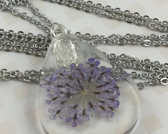 Purple Queen Anne's Lace Teardrop Resin Necklace