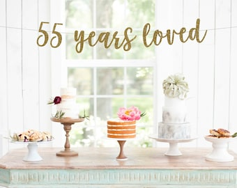 55 Years Loved Banner || 55th birthday party l 55th decorations ll cheers to 55 years l happy 55th birthday l 55 years blessed l 55 years