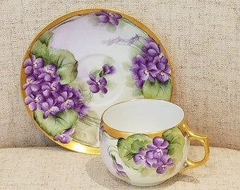 Limoges tea cup, saucer gilded edges made in France AK Limoges
