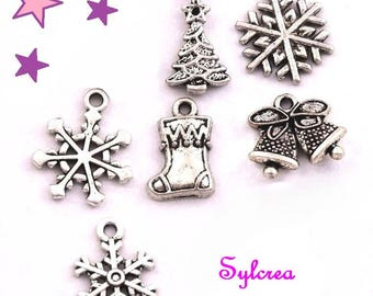 REF F - 6 Christmas 20 14 mm Christmas tree snow boot charm Bell Christmas tree