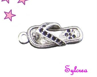 8 charms of 22 x 8 mm 3D silver shoe Tong
