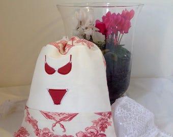 Pink toile de Jouy lingerie bag
