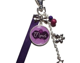 "Keychain / bag charm ""Merci"" Purple/gift to say thank you"