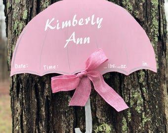 Baby Birth Announcement Door Hanger, Hospital Door Hanger, Umbrella