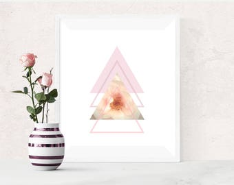 Pink Floral Print, Geometric triangles, Printable art, Flower Art, Symmetrical Triangles, Scandi Style, Pink Minimalist Poster, Modern Decor