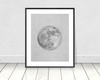 Moon Print, Moon Wall Art, Printable Art, Celestial Print, La Luna, Black and White Print, Full Moon, Moon Poster, Moon Phases, Moon Decor