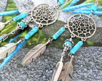 Ethnic earrings catch dreams feathers and turquoise.