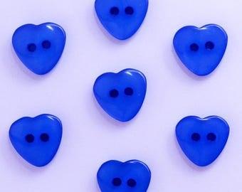Heart 12mm set of 10 buttons: Blue - 002209