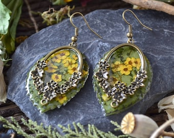 Leaf earrings, roses, dried flowers, epoxy, Bohemian chic, hand made jewelry, handmade resin jewelry