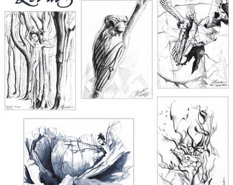 Lot 5 illustrations fairies / / Graphite and ink black and white / / Print size 15 x 9 inch