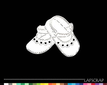 2 cut scrapbooking scrap newborn baby girl Bootie shoe pair Princess fairy embellishment Scrapbook die cuts