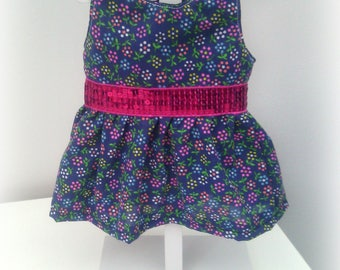 36 cm doll clothes : Blue cotton flower dress with sequins