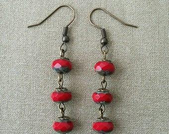 Earrings Bohemian red beads