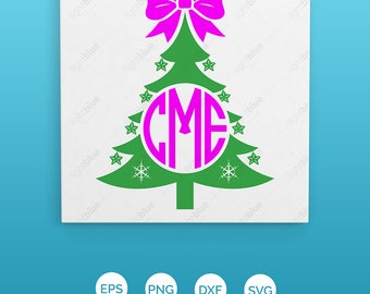 Christmas tree monogram with bow SVG instant download design for cricut or silhouette LB349