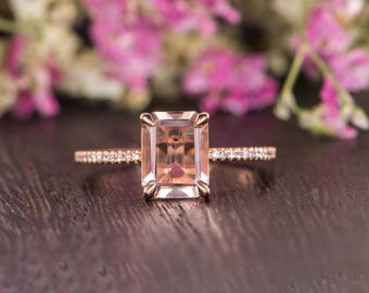 Emerald Cut Engagement Ring Rose Gold Morganite Ring Antique Half Eternity Diamond Woman Ring Antique Unique Promise Bridal Gift for Her