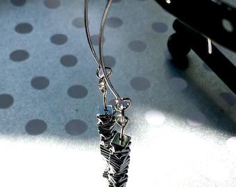 Stayin' Alive earrings - ear wire cascading square dangly earrings