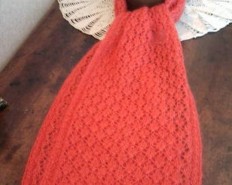 SCARF ORANGE HANDKNITTED  lace kid mohair and silk