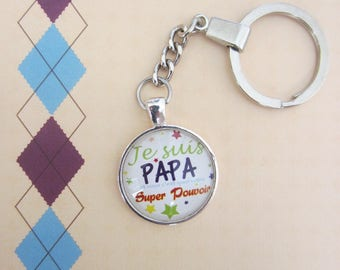 "Gift for Dad: Keychain ""I'm dad Super power"""