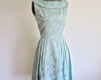 S 50s 60s Blue Party Dress Floral Brocade Petite Sizing Small Mid Century Cocktail Pleated Fuller Skirt Small