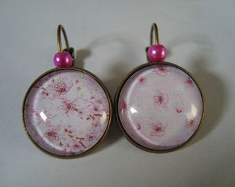 Earrings sleepers bronze cherry flowers