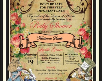 Alice in Wonderland Baby Shower/Birthday Invitation
