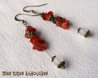 Earrings * stones and BRONZE * rose Quartz and carnelian