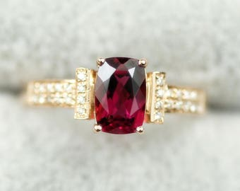 Cushion Rubellite Tourmaline Engagement Ring In 14k Yellow Gold