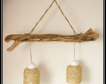 Driftwood lamp shade ceiling lights in Scandinavian style cotton cord
