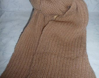 mohair, Beige pink hand knitted scarf