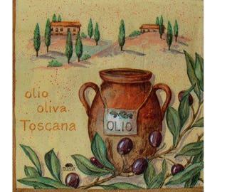 Set of 3 napkins FRU015 olive oil