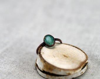 Cut Emerald Ring, Electroformed emerald copper ring, 17 mm