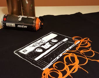 MIX TAPE, graffiti old school cassette black shirt