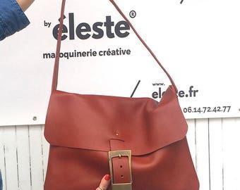 Leather handbag / shoulder bag women / Brown, red, fox / large leather bag